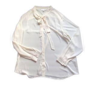 BANANA REPUBLIC Cream Tie Neck Blouse Top Size XL
